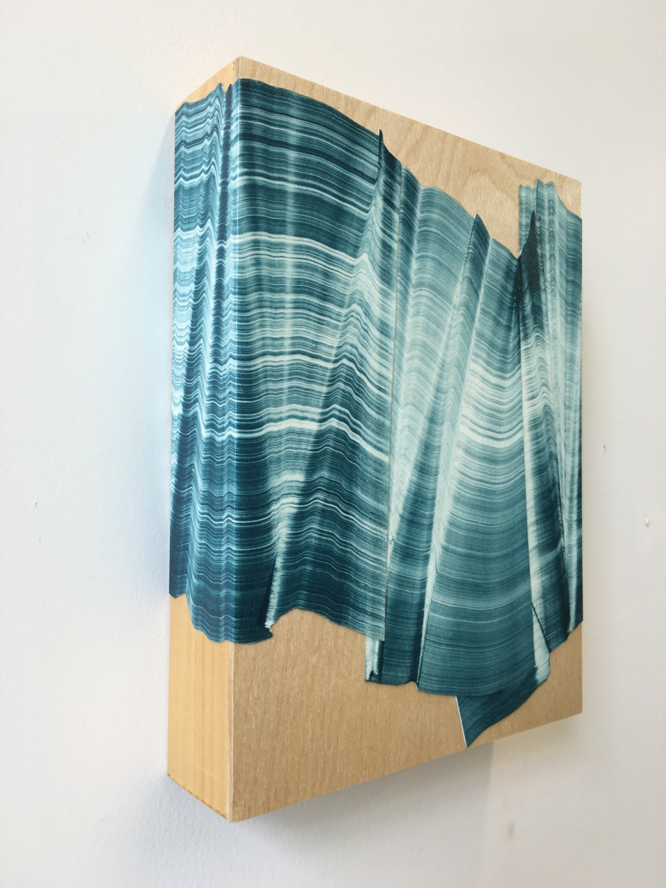 "Kristin Breiseth ,  Single Wave , collaged gelatin plate monotype, mounted on wood, 7"" x 5"" x 2"", $275"