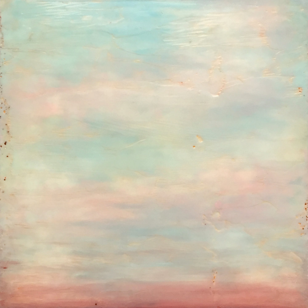 "Linda Cordner ,  Fading to Pink , encaustic, oil on board, 13"" x 13"" framed, $550"