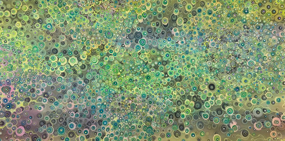 "Laura Gurton ,  Unknown Species #167 , oil, alkyd and ink on linen, 20"" x 40"". $3,500"