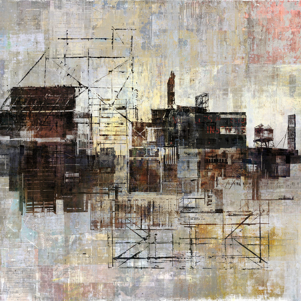 "Robert Maloney ,  Barreness (Study) , digital composition transferred to wood, masonite, gesso, acrylic medium and wood glue, 12"" x 12"", sold"