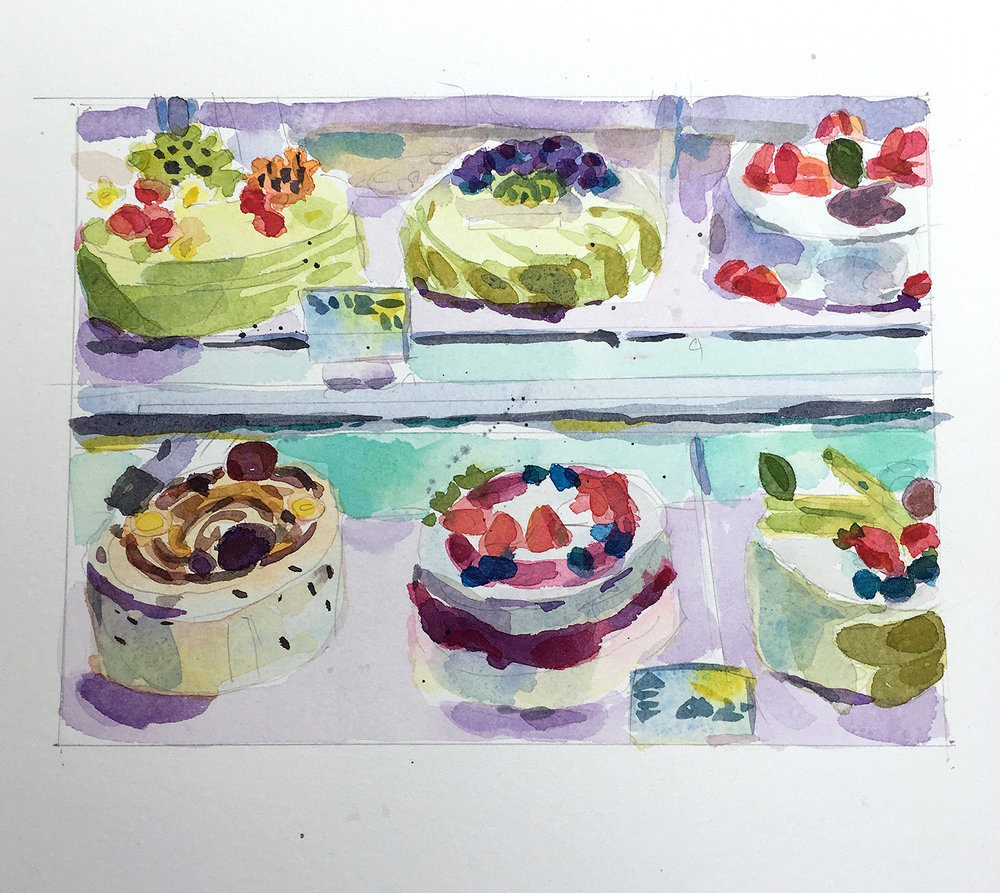 "Jean Segaloff ,  Six Cakes , watercolor on paper, 11"" x 14 1/4"" framed, $325"