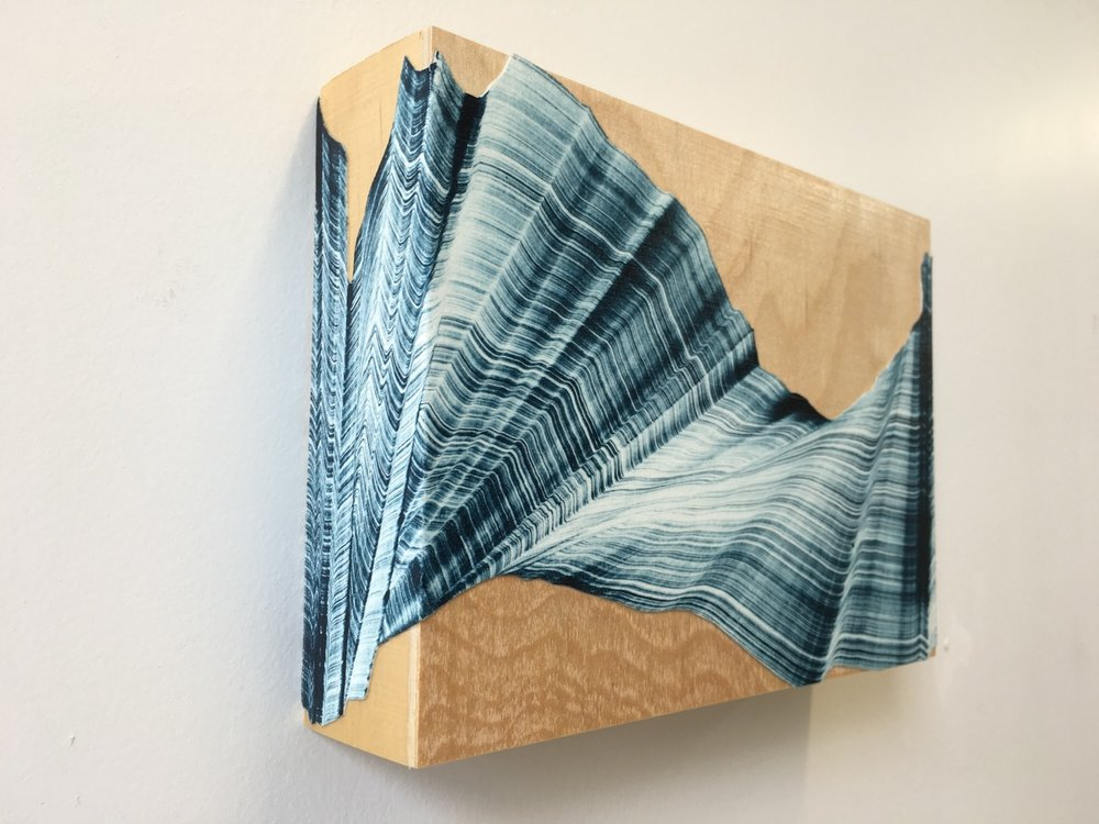 "Single Wave , collaged gelatin print monotype mounted on wood, 7"" x 5"" x 2"", $275"