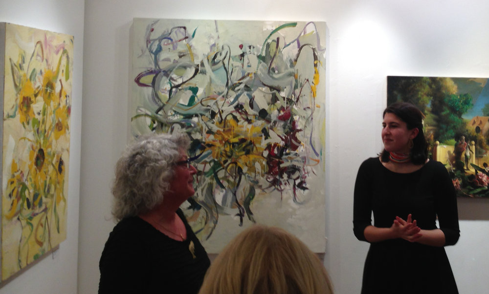 Art critic Rebecca Nemser (left) and gallery director Jillian Wertheim (right) discuss Jon Imber's life and work at 13FOREST Gallery's post-screening reception of Imber's Left Hand.