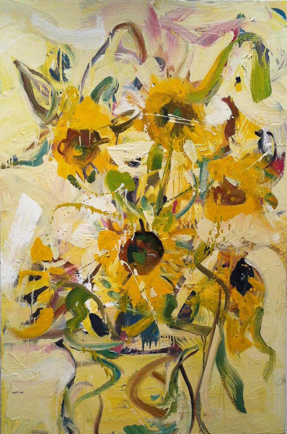 John Imber, Sunflowers II, 2012, oil on panel. Image courtesy of Alpha Gallery.