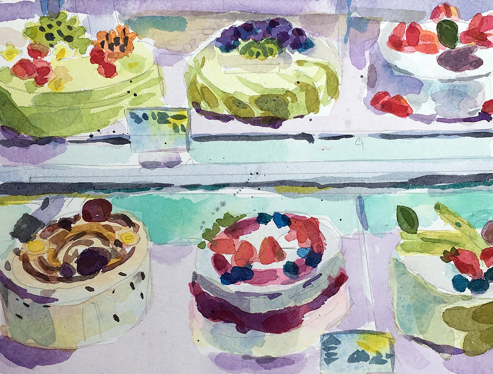 "Six Cakes , watercolor on paper, 11"" x 14 1/4"" framed, $450"