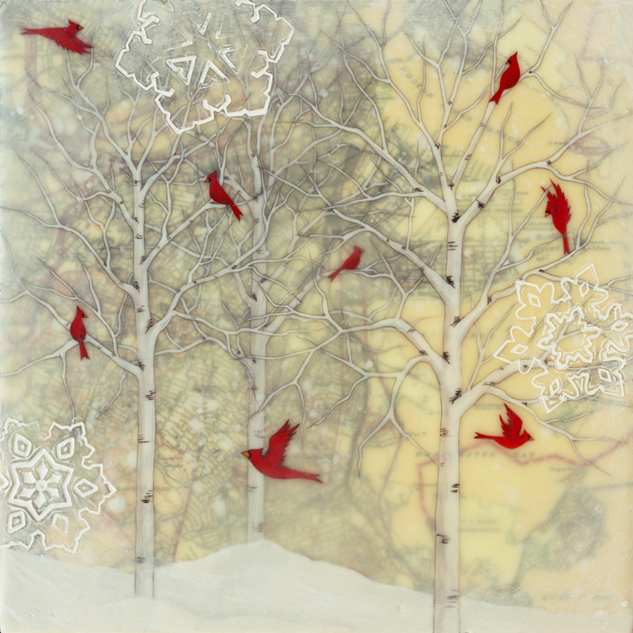 "Cardinals and Snowflakes , encaustic, rice paper, gouache, oil stick, map of Boston mounted on birch panel with reclaimed beach fence frame, 10"" x 10"" framed, sold"