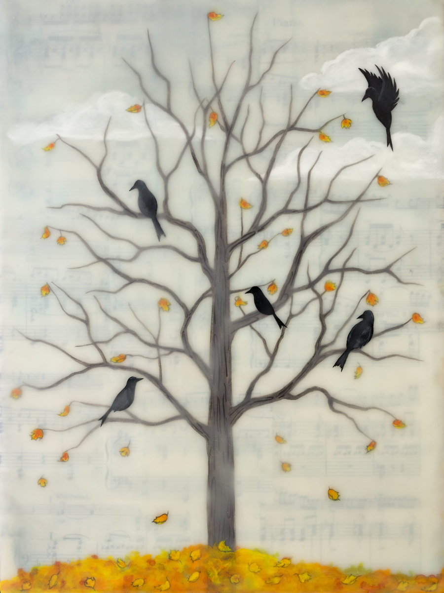 "Fall Ravens , encaustic, rice paper, gouache, oil stick, vintage sheet music, mounted on birch panel with reclaimed beach fence frame, 12"" x 9"" framed, sold"