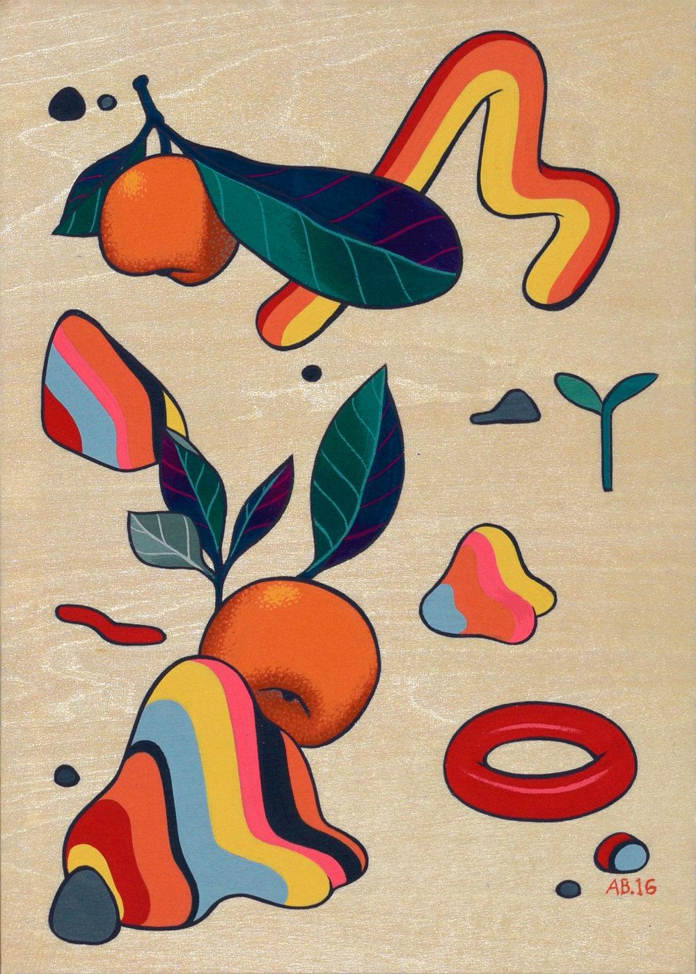 """Reseda , acryla gouache on wood, 7"""" x 5"""", $150"""