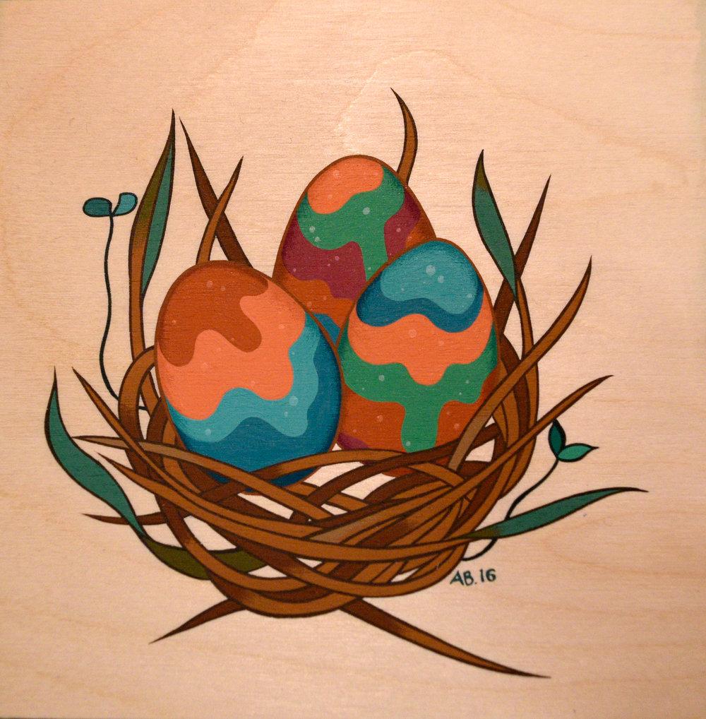 """In One Basket , acryla gouache on wood, 6"""" x 6"""", $150"""