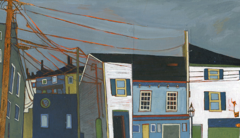 "State and Penhallow , acrylic and graphite over collage on panel, 6 1/2"" x 12"", $475"