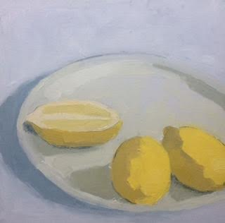 "Juliana Gamble ,  3 Lemons , oil on canvas, 10 1/4"" x 10 1/4"" framed, $350"