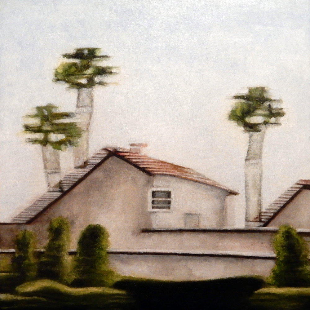"Irvine Ranch Modular I , oil on panel, 15"" x 15"" framed"