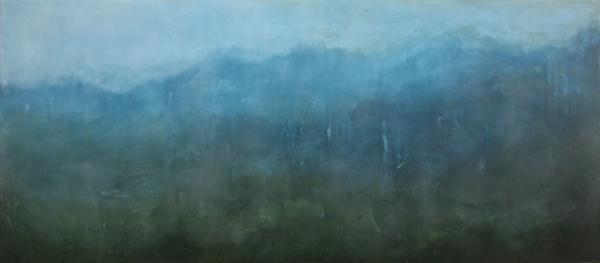 "Skyline , encaustic and oil on board, 18 1/2"" x 41 1/2"" framed, $1,500"