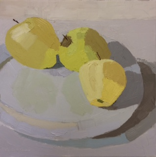 """Golden Delicious , oil on canvas, 12 1/4"""" x 12 1/4"""" framed, $400"""
