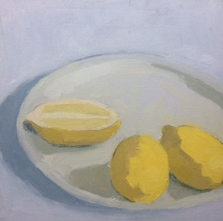 "Three Lemons , oil on canvas, 10 1/4"" x 10 1/4"" framed, $350"