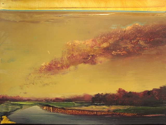 "Untitled Landscape (M1-06) , oil on paper, 9 1/2"" x 12 1/2"" framed, sold"