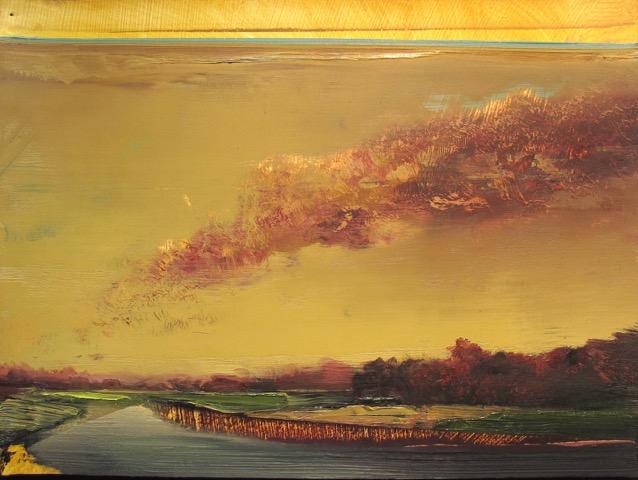"""Untitled Landscape (MI-6) , oil on paper, 9 1/2"""" x 12 1/2"""" framed, $800"""