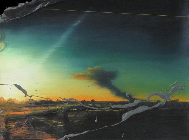 """Untitled Landscape (MI-3) , oil on paper, 9 1/2"""" x 12 1/2"""" framed, $800"""