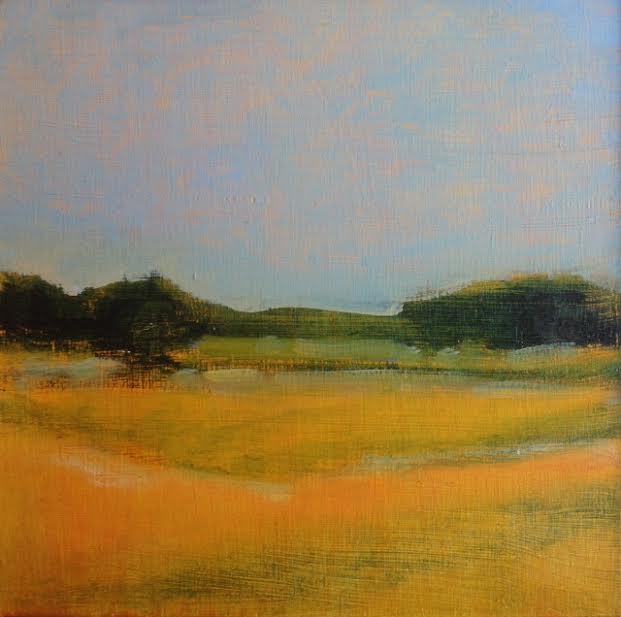 """Across the Marsh , oil on board, 6 3/4"""" x 6 3/4"""" framed"""