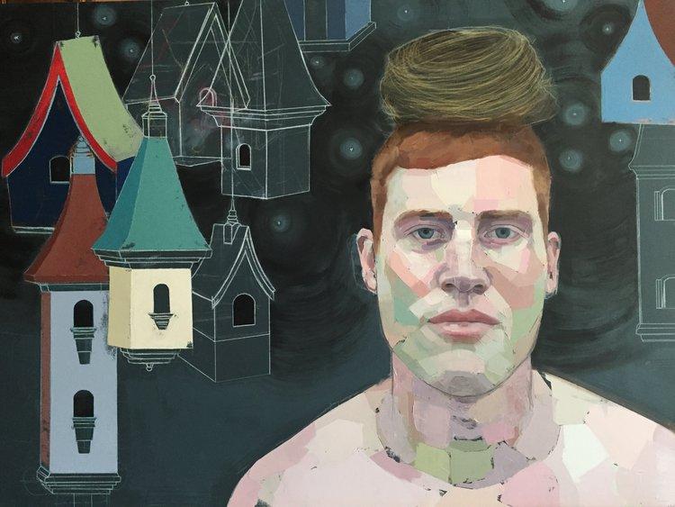 """Cardinal Boy , oil, acrylic, colored pencil, chalk on canvas, 36"""" x 48"""""""
