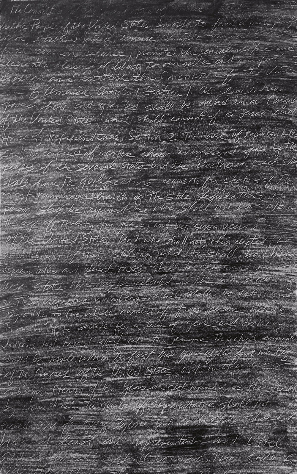 "Sarah Rushford ,  Alluvion (Drawing 1) , graphite on paper with scratched text from the U.S. Constitution, 35 1/2"" x 27 3/4"" framed, $850"