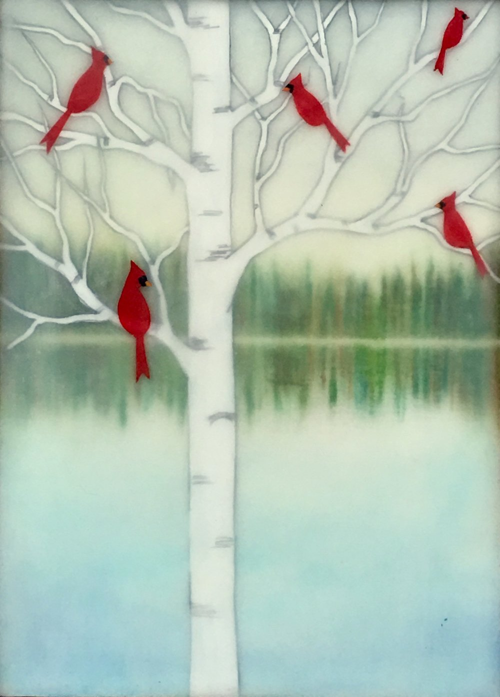 "Cardinal Lake , encaustic, pastel, rice paper and gouache on birch panel with reclaimed beach fence frame, 7 1/2"" x 5 1/2"" framed, sold"
