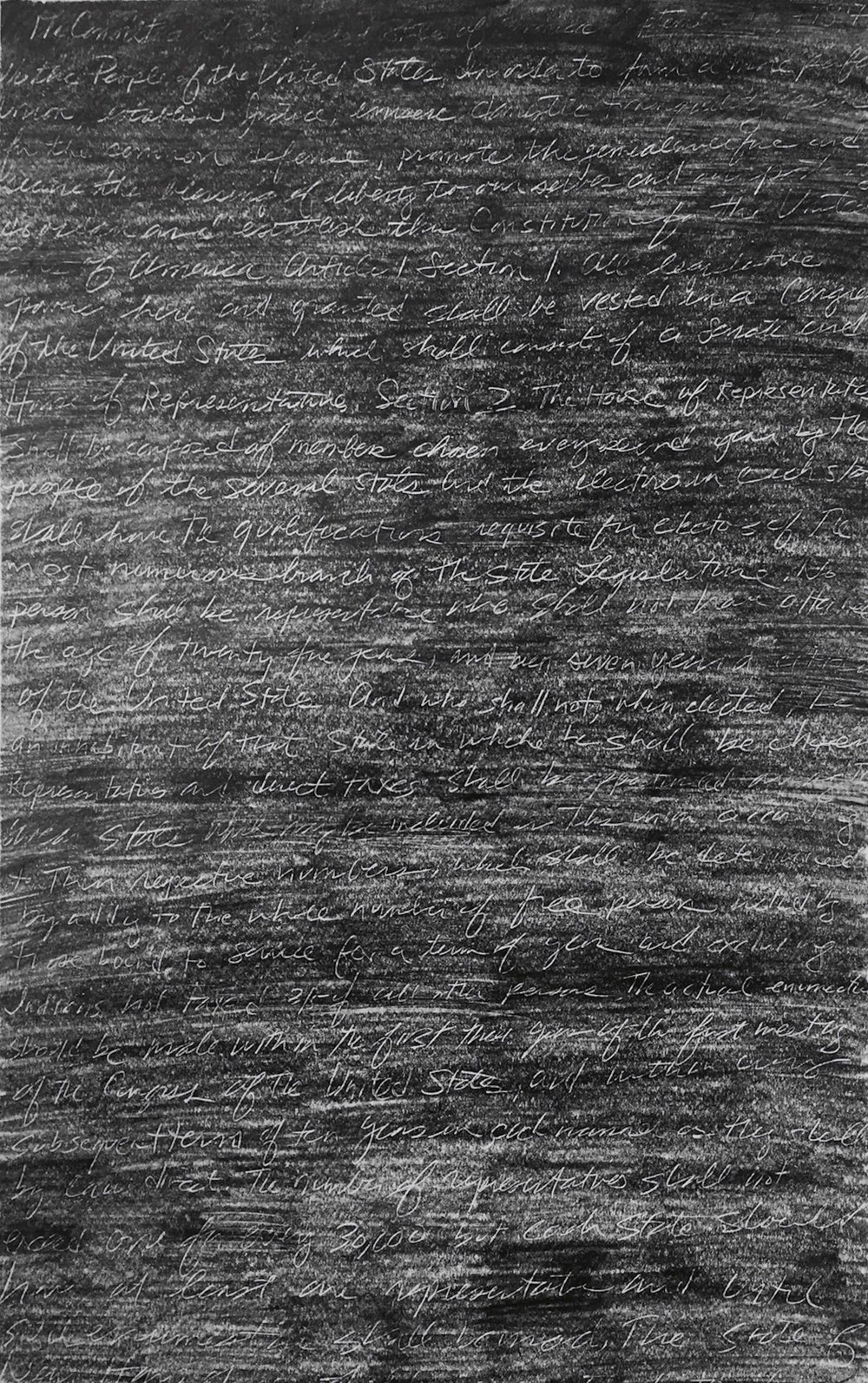"Alluvion (Drawing 1) , graphite on paper with scratched text from the U.S. Constitution, 35 1/2"" x 27 3/4"" framed, $850"