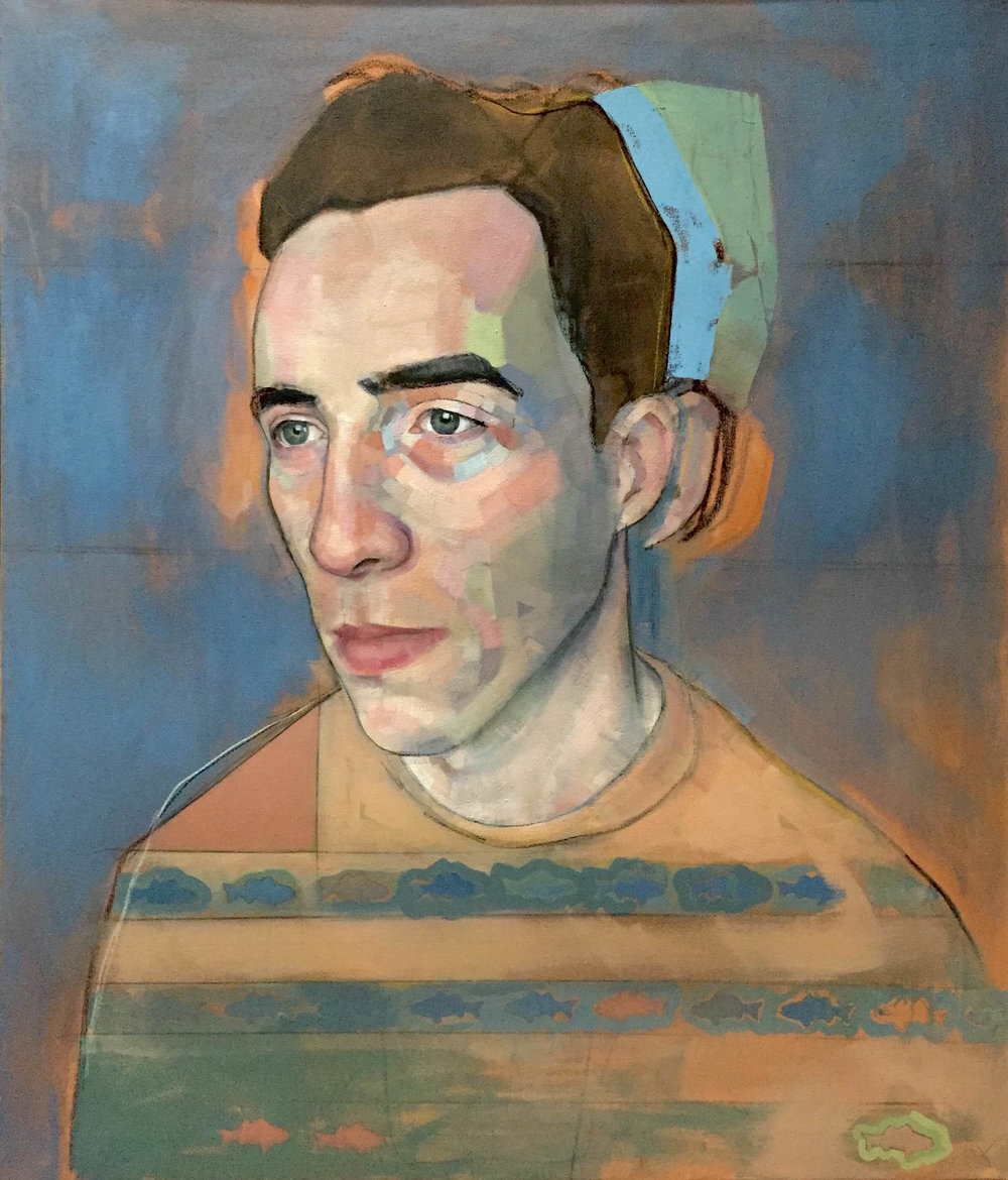 "Fish Boy and the Case of the Roving Ear , oil, acrylic, charcoal on canvas, 54"" x 46"""
