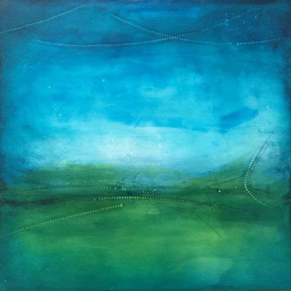 "Scapeside , encaustic and oil on board, 13"" x 13"" framed, sold"