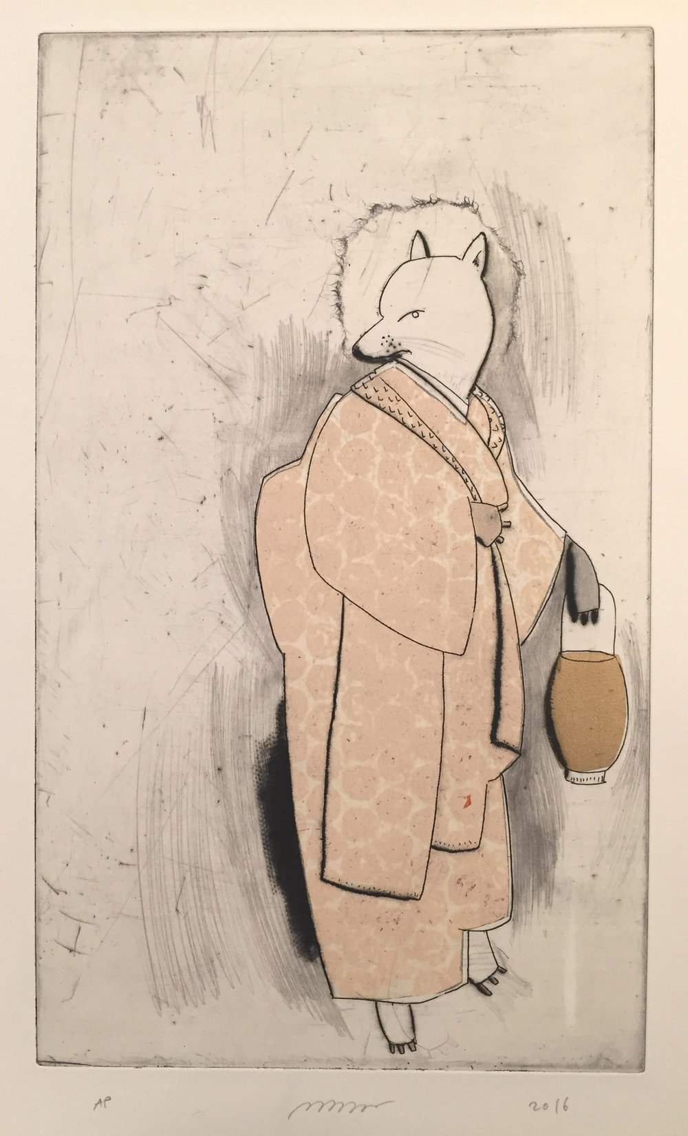 "Large Kitsune , etching, drypoint, and chine-collé, 15 1/2"" x 11 1/4"", $300"