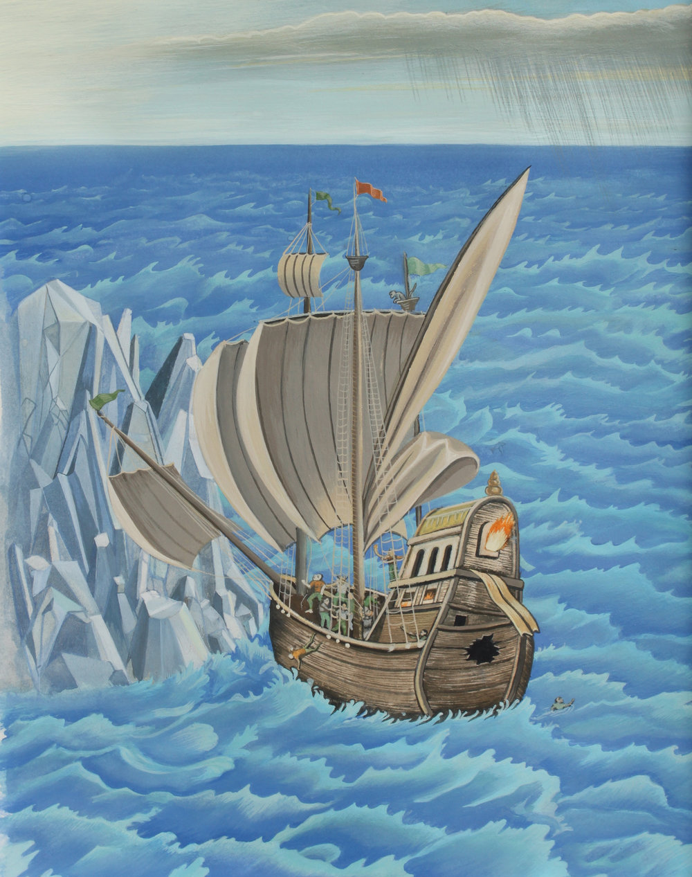 "John Campbell ,  Ship of Fools , gouache on paper, 21 1/2"" x 17 1/2"" framed, $700"
