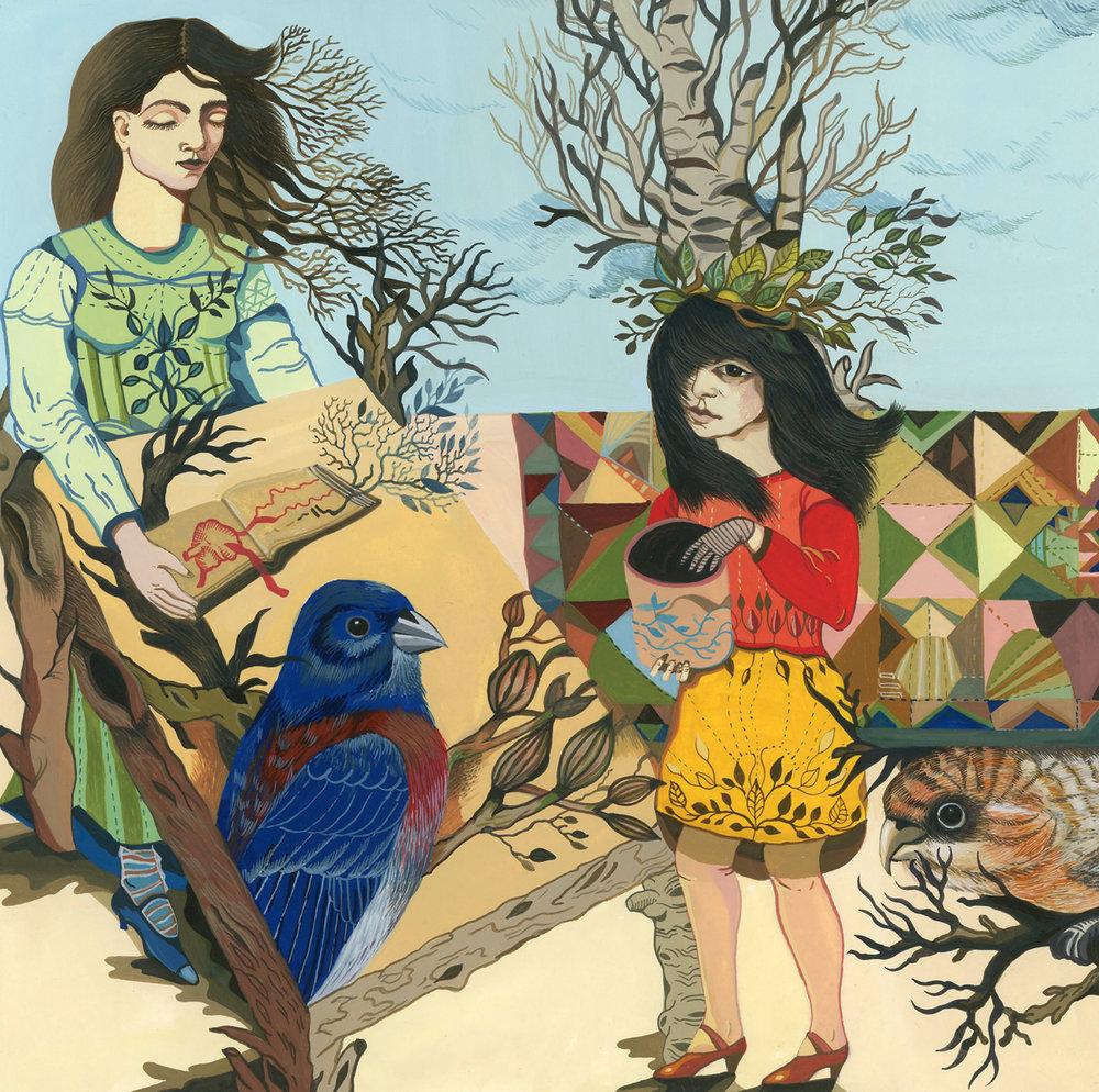 "Boriana Kantcheva,  Ritual , gouache on paper, 13"" x 13"" framed, $600"