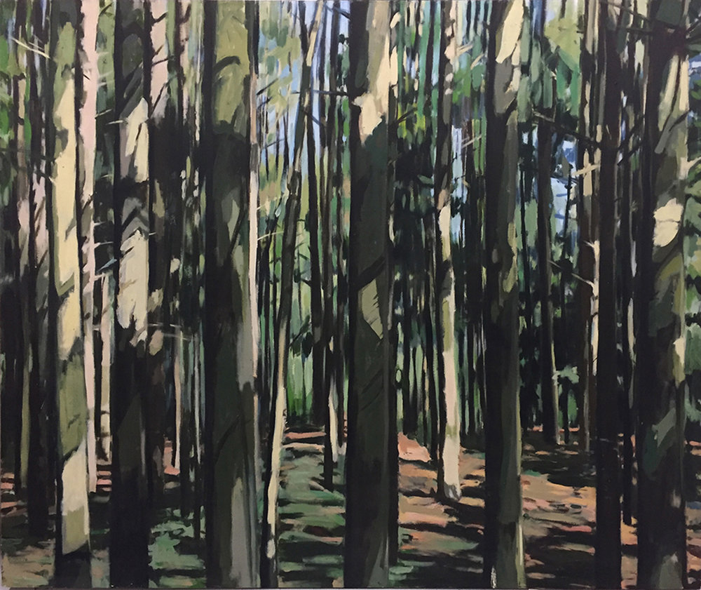 "Andrea Tishman,  If a Tree Falls , oil on canvas, 60"" x 72"", $4,000"