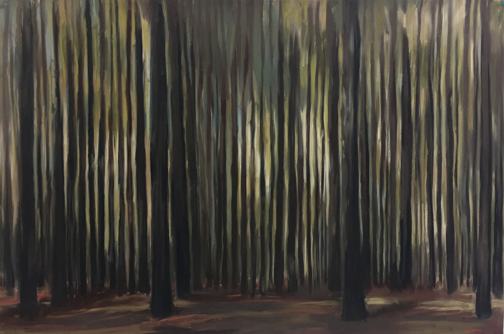 "Andrea Tishman,  New Hampshire Woods , pastel and charcoal on sanded paper, 31"" x 43"" framed, $2,000"