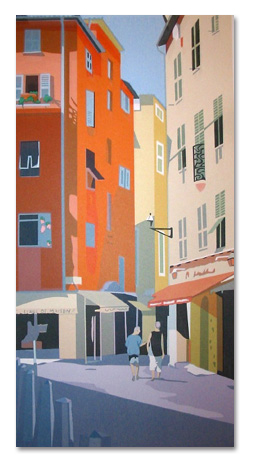 "In Nice: Street Scene (18/55) , serigraph on paper, 30"" x 18"", $450"