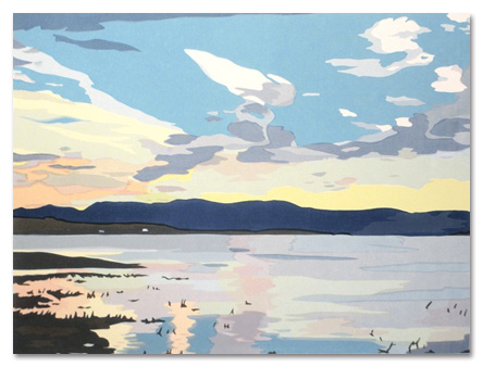 "Patagonia: Morning Sky II (8/50) , serigraph on paper, 14"" x 19"", $325"
