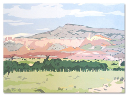 "Near Ghost Ranch, New Mexico , serigraph on paper, 13"" x 17"", $290"