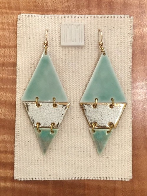 Three-tiered hinged earrings, porcelain with celadon glaze over crackled gold over aquamarine, 14k gold hardware with handmade ear-wire