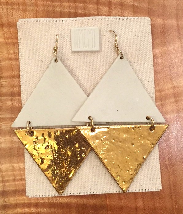 Extra-large two-tiered hinged earrings , bare white porcelain over gold luster, 14k gold filled hardware with handmade ear-wire, $190