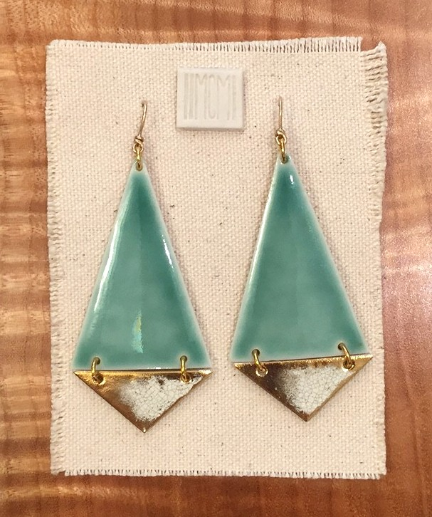 Large two-tiered hinged earrings , porcelain with aquamarine glaze over crackled gold, 14k gold filled hardware with handmade ear-wire, $120