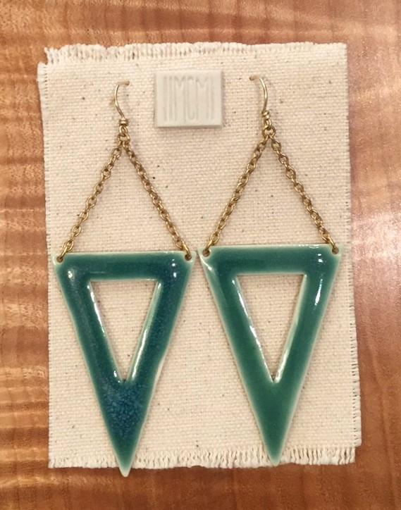 Large open triangle earrings , porcelain with aquamarine and 14k gold filled chain and handmade earwire, $85