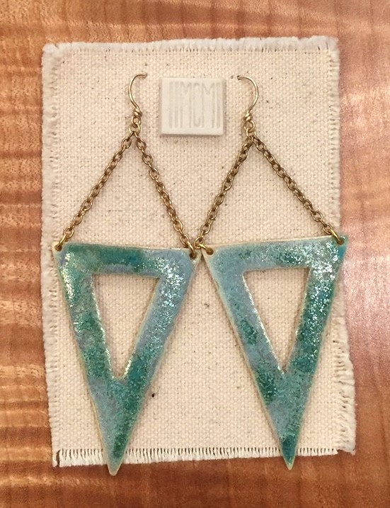 Large open triangle earrings , porcelain with mottled turquoise glaze, 14k gold filled chain and handmade ear wire, $85