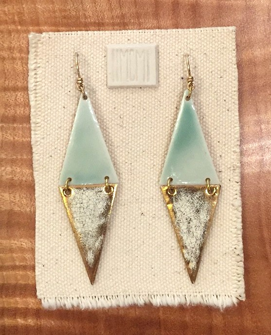 Narrow two-tiered hinged earrings, porcelain with celadon over crackled gold, 14k gold filled hardware and handmade ear-wire, sold