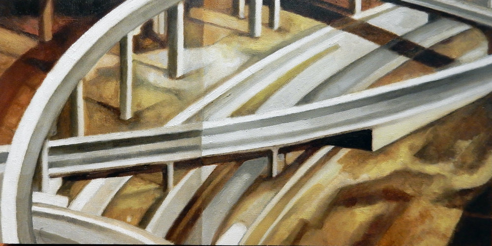 "Texas Overpass 1 , oil on panel, 9"" x 15"" framed, $650"
