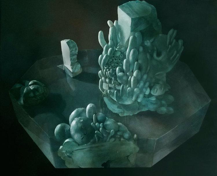 "Still Life with Blue Petri , acrylic on panel, 24"" x 30"", $3,250"