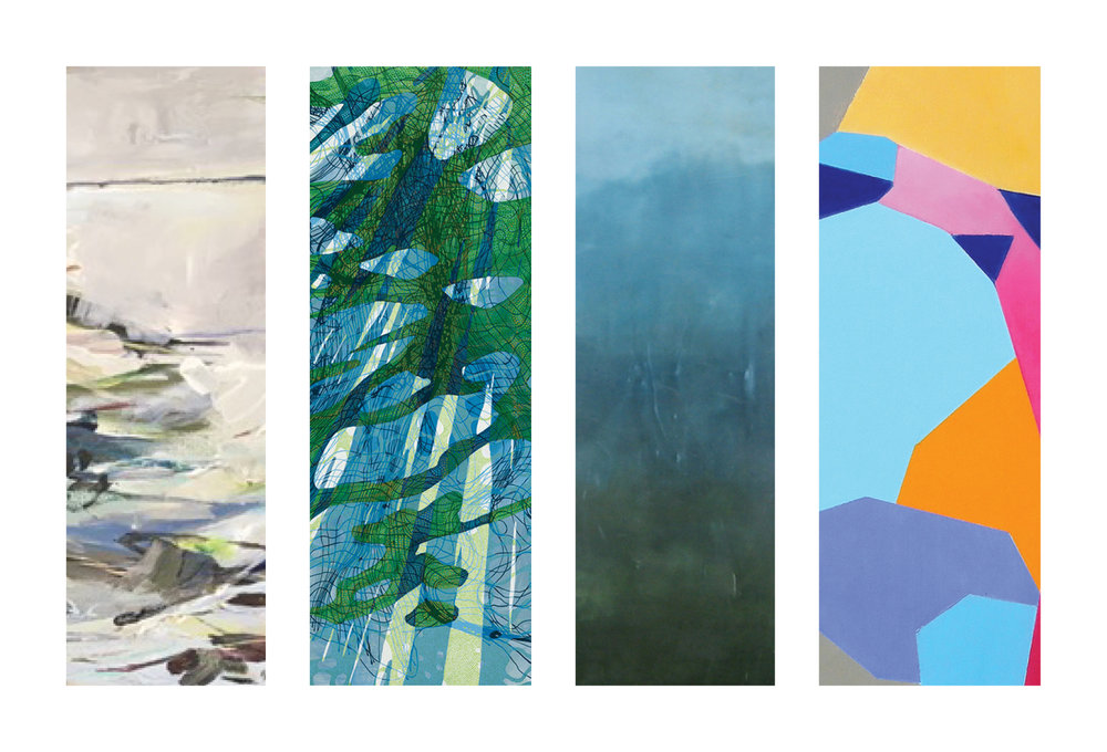 Left to right, details from: Jeffrey Fitzgerald,  On and On , acrylic on canvas, Lynda Schlosberg,  Breeding Ground , acrylic on panel, Linda Cordner,  Skyline , encaustic and oil on board, Susan Richards,  Downstream , oil on panel