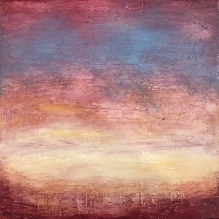 "Linda Cordner,  Summer Storm , encaustic and oil on board, 24"" x 24"", $1,500"