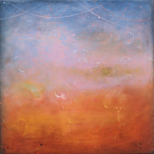 "Pink Mist , encaustic and oil on board, 10"" x 10"", $400"
