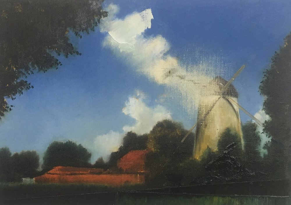"Untitled (Mill) , oil on canvas, 14"" x 20"", sold"