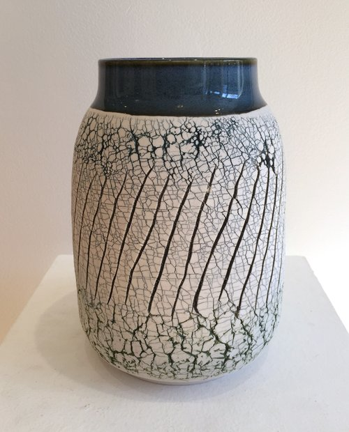"Large wheel-thrown and hand-altered vase with blue rim and blue crackle, 5"" x 5"" x 8"", $225"